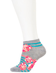 Floral & solid sport socks 3-pack