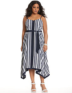 Striped maxi dress with handkerchief hem