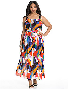 Pop print pleated maxi dress