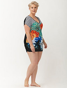 Mixed print swim cover up