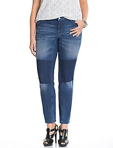 Patched Mercer skinny jean by DKNY JEANS