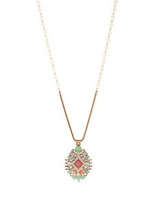 Beaded stone pendant necklace