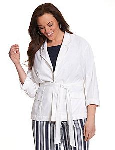 Stretch linen belted jacket
