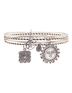 Bangle charm bracelet 4-row set