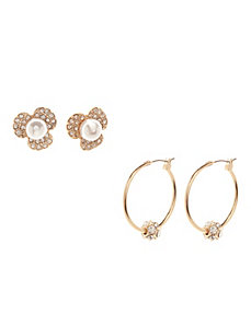 Flower & hoop earring duo