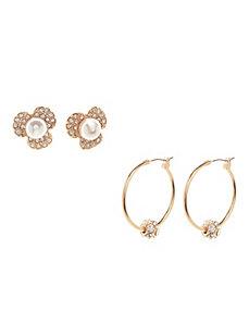 Flower & hoop earring duo
