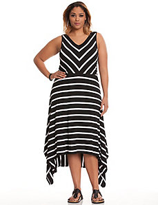 Striped A-line maxi dress