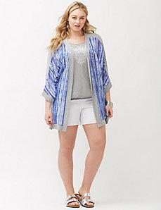 Knit trim kimono overpiece