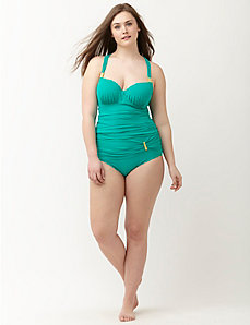 Strappy back swim tank with built-in balconette bra