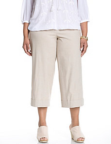 Lena stretch linen wide leg crop