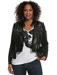 Faux leather & ponte moto jacket