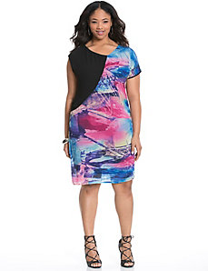 Print block chiffon dress by MODAMIX