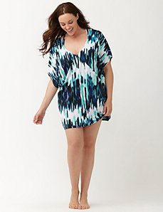Printed V-neck swim cover up