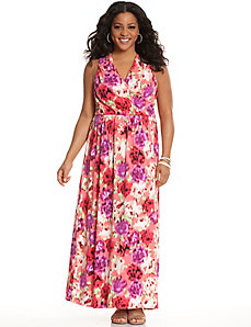 Printed cross back maxi dress