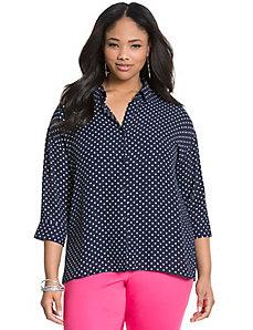 Polka dot dolman blouse