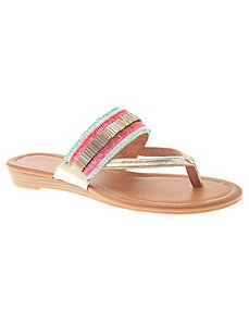 Beaded slide wedge sandal