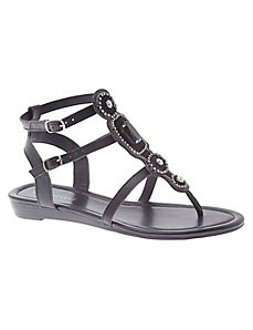 Jeweled low wedge sandal