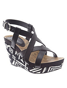 Tribal wedge sandal