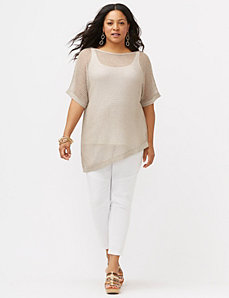 Metallic off-shoulder pullover sweater