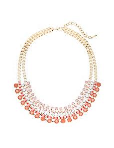 Ribbon & stone statement necklace