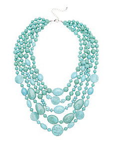 Turquoise layered stone necklace