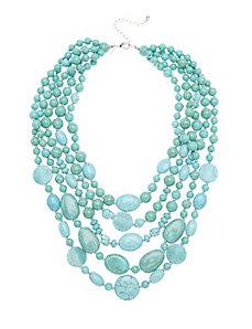 Turquoise layered stone necklace