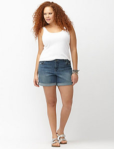 Embroidered denim short