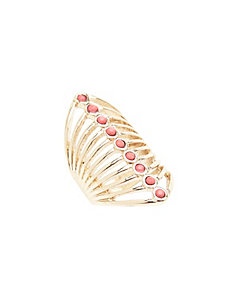 Coral stone knuckle ring