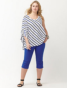 Striped drama sleeve top