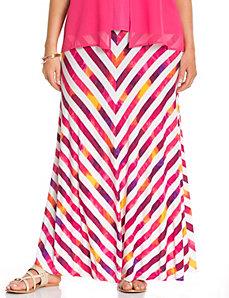Painted stripe maxi skirt