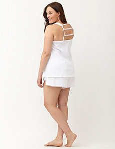 Slub sleep tank with crochet trim