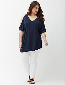 Simply Chic matte Jersey cold shoulder top