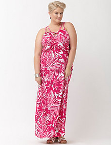 Palm print cut-out knit maxi dress