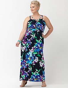 Floral cut-out knit maxi dress