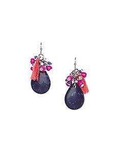 Tasseled stone drop earrings