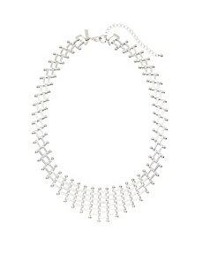 Basket weave bib necklace