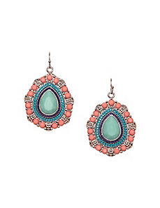 Stone medallion drop earrings