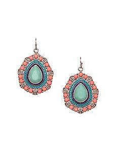 Stone medallion drop earrings