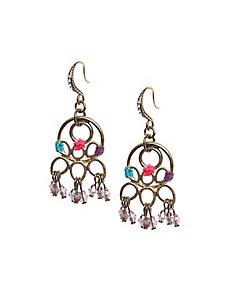 Thread wrapped chandelier earrings