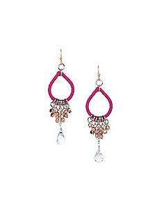Thread wrapped teardrop earrings