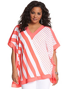 Mixed stripe drama top