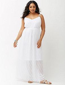 Clip dot chiffon maxi dress