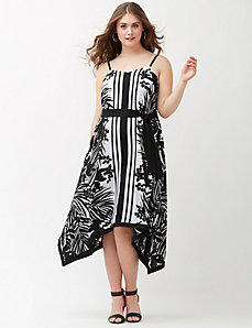 Printed shark bite midi dress