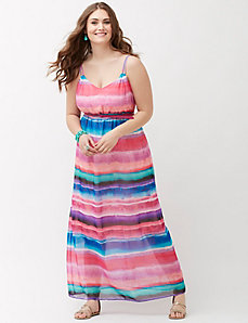 Sunset stripe chiffon maxi dress