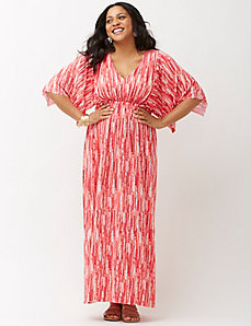 Printed kimono sleeve maxi dress