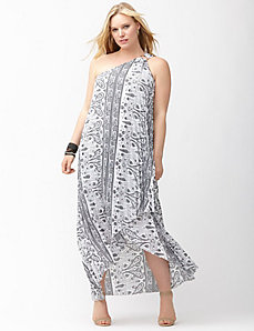 Paisley one shoulder pleated maxi dress