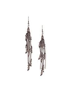 Hematite beaded tassel earrings
