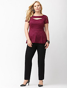 Cut out lace peplum top