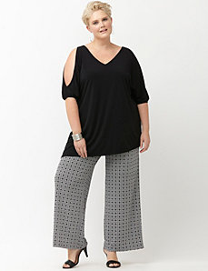 Simply Chic matte Jersey printed wide leg pant