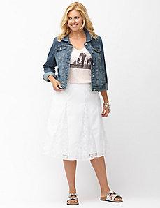 Lace gored midi skirt